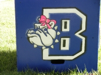 B Bulldog with pink bow